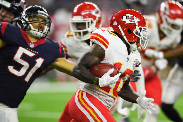 Oct 8, 2017; Houston, TX, USA; Kansas City Chiefs wide receiver Tyreek Hill (10) runs a punt return back for a touchdown Houston Texans linebacker Dylan Cole (51) defends during the fourth quarter at NRG Stadium. Mandatory Credit: Shanna Lockwood-USA TODAY Sports - 10336617