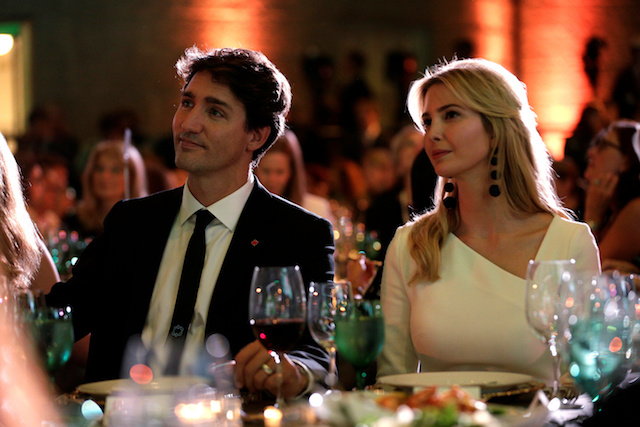 Canadian Prime Minister Justin Trudeau and Senior White House Advisor Ivanka Trump sit together at the 2017 Fortune magazineís ìMost Powerful Womenî summit in Washington, U.S., October 10, 2017. REUTERS/Joshua Roberts -