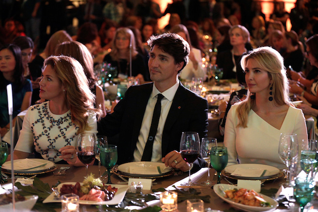 Canadian Prime Minister Justin Trudeau, his wife Sophie and Senior White House Advisor Ivanka Trump sit together at the 2017 Fortune magazineís ìMost Powerful Womenî summit in Washington, U.S., October 10, 2017. REUTERS/Joshua Roberts - RC1B759DEDC0
