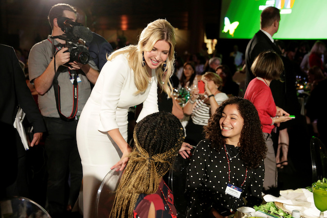 Senior White House Advisor Ivanka Trump greets high school students at the 2017 Fortune magazineís ìMost Powerful Womenî summit in Washington, U.S., October 10, 2017. REUTERS/Joshua Roberts