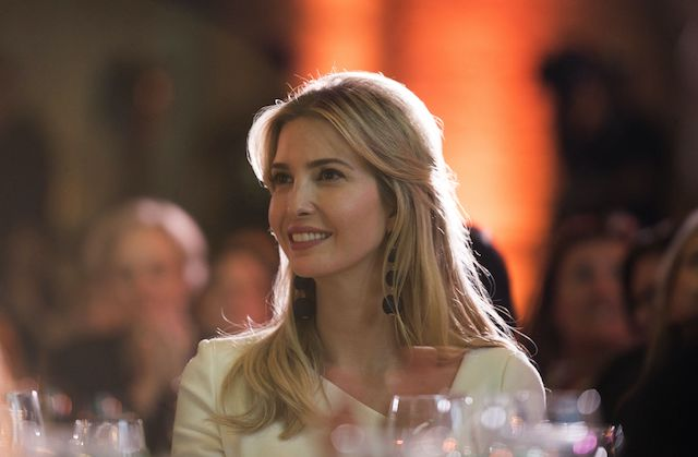 Ivanka Trump listens to Canadian Prime Minister Justin Trudeau speak at a discussion at the 2017 Fortune Most Powerful Women Summit in Washington, DC on October 10, 2017. / AFP PHOTO / Andrew CABALLERO-REYNOLDS (Photo credit should read ANDREW CABALLERO-REYNOLDS/AFP/Getty Images)