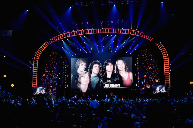 NEW YORK, NY - APRIL 07: 2017 Inductees Journey onstage at the 32nd Annual Rock & Roll Hall Of Fame Induction Ceremony at Barclays Center on April 7, 2017 in New York City. The event will broadcast on HBO Saturday, April 29, 2017 at 8:00 pm ET/PT (Photo by Mike Coppola/Getty Images)
