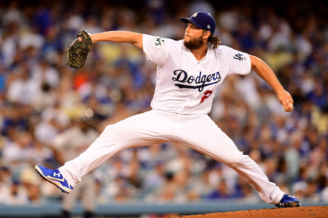 LOS ANGELES, CA - OCTOBER 24: Clayton Kershaw #22 of the Los Angeles Dodgers throws a pitch during the fourth inning against the Houston Astros in game one of the 2017 World Series at Dodger Stadium on October 24, 2017 in Los Angeles, California. (Photo by Harry How/Getty Images)