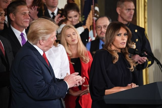 First Lady Melania Trump speaks before US President Donald Trump delivers remarks on combatting drug demand and the opioid crisis on October 26, 2017 in the East Room of the White House in washington,DC. / AFP PHOTO / JIM WATSON (Photo credit should read JIM WATSON/AFP/Getty Images)