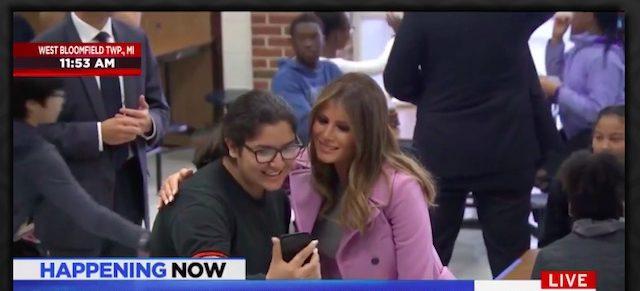Melania Trump in Michigan (photo: MSNBC Screenshot)