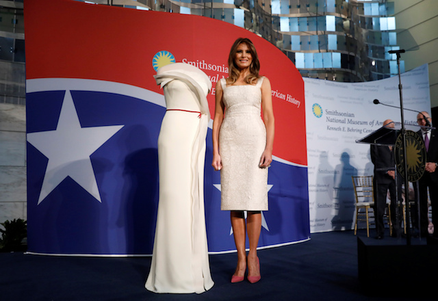 U.S. first lady Melania Trump presents her inaugural gown to the Smithsonian's National Museum of American History in Washington, U.S., October 20, 2017. REUTERS/Kevin Lamarque