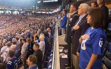 Vice President Mike Pence standing for national anthem. (photo: White House photo Myles Cullen)
