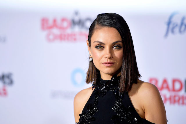 """WESTWOOD, CA - OCTOBER 30: (EDITORS NOTE: Image has been converted to black and white) Mila Kunis attends the premiere of STX Entertainment's """"A Bad Moms Christmas"""" at Regency Village Theatre on October 30, 2017 in Westwood, California. (Photo by Matt Winkelmeyer/Getty Images)"""