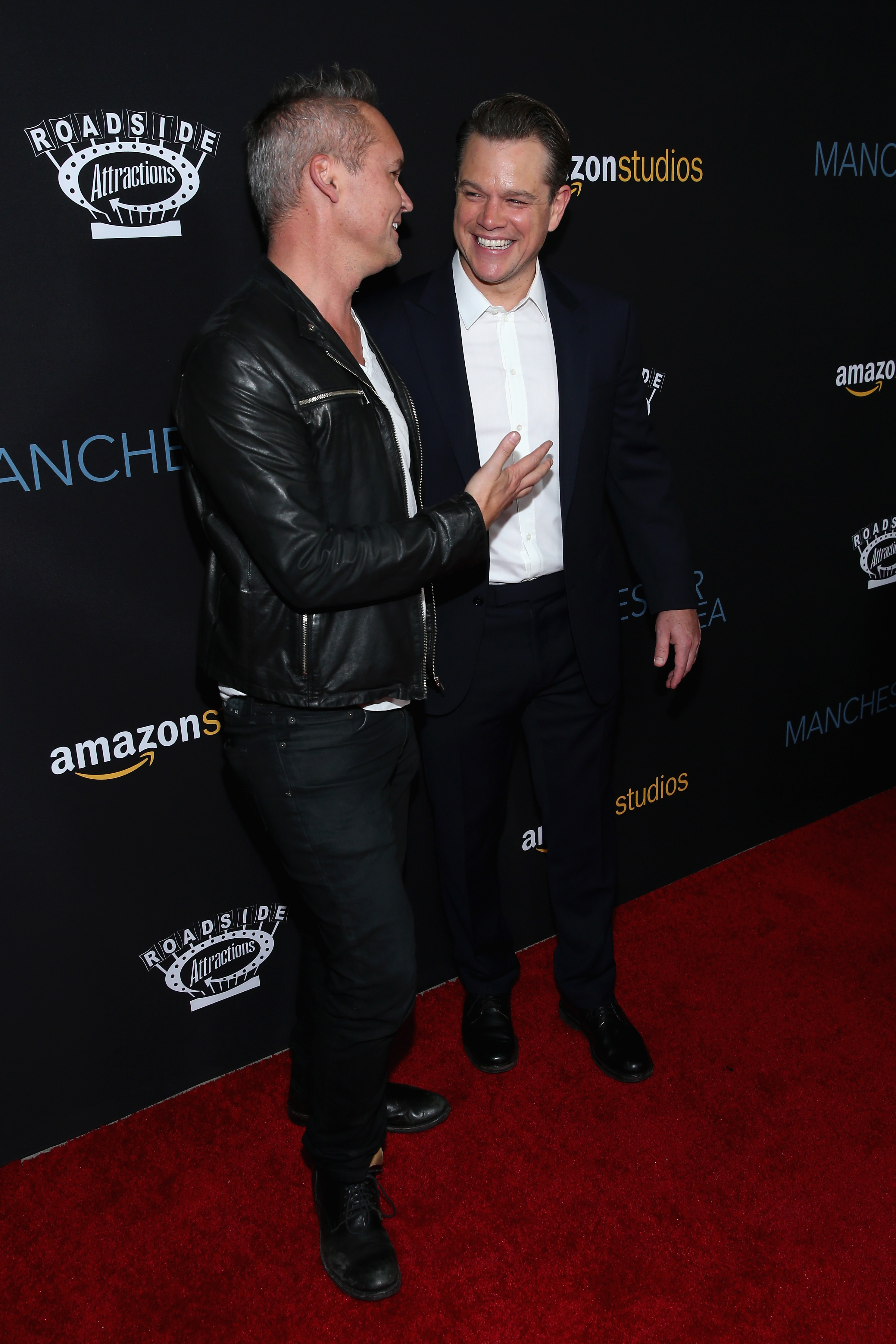 """Price and actor Matt Damon attend the premiere of Amazon Studios' """"Manchester By The Sea"""" at Samuel Goldwyn Theater on November 14, 2016 in Beverly Hills, California. (Photo by Phillip Faraone/Getty Images)"""