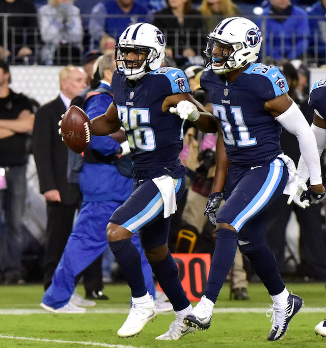 NASHVILLE, TN - OCTOBER 16: Kevin Byard #31 and Logan Ryan #26 celebrate after recovering a fumble against the Indianapolis Colts during the second half of a 36-22 Titan victory at Nissan Stadium on October 16, 2017 in Nashville, Tennessee. (Photo by Frederick Breedon/Getty Images)