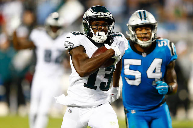Oct 12, 2017; Charlotte, NC, USA; Philadelphia Eagles wide receiver Nelson Agholor (13) runs in for a touchdown after a catch in the third quarter at Bank of America Stadium. Mandatory Credit: Jeremy Brevard-USA TODAY Sports -