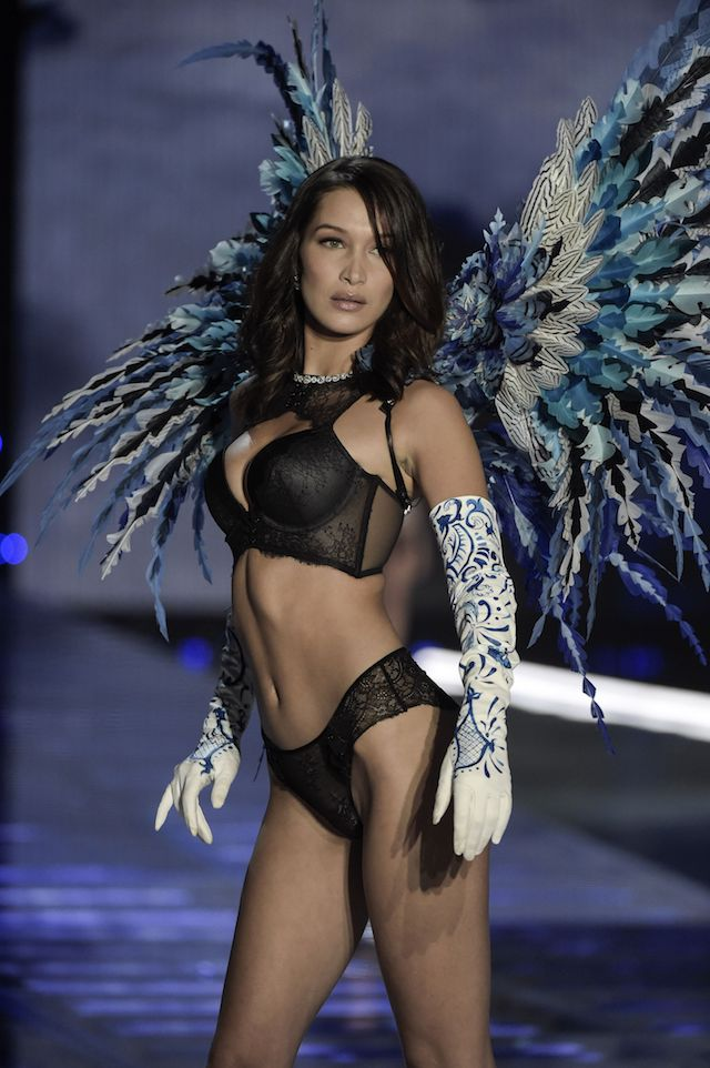 US model Bella Hadid presents a creation during the 2017 Victoria's Secret Fashion Show in Shanghai on November 20, 2017. / AFP PHOTO / FRED DUFOUR / RESTRICTED TO EDITORIAL USE (Photo credit should read FRED DUFOUR/AFP/Getty Images)