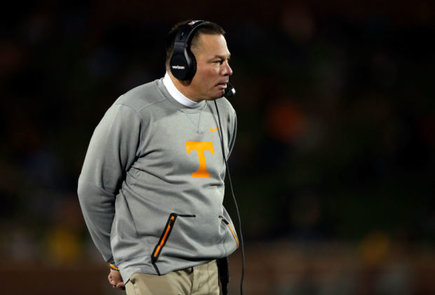 COLUMBIA, MO - NOVEMBER 11: Head coach Butch Jones of the Tennessee Volunteers coaches from the sidelines during the game against the Missouri Tigers at Faurot Field/Memorial Stadium on November 11, 2017 in Columbia, Missouri. (Photo by Jamie Squire/Getty Images)