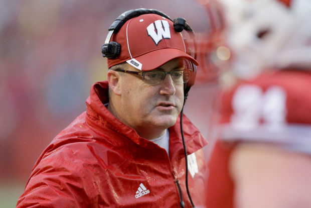 MADISON, WI - OCTOBER 31: Head Coach Paul Chryst of the Wisconsin Badgers on the sidelines during the first half against the Rutgers Scarlet Knights at Camp Randall Stadium on October 31, 2015 in Madison, Wisconsin. (Photo by Mike McGinnis/Getty Images) *** Local Caption *** Paul Chryst