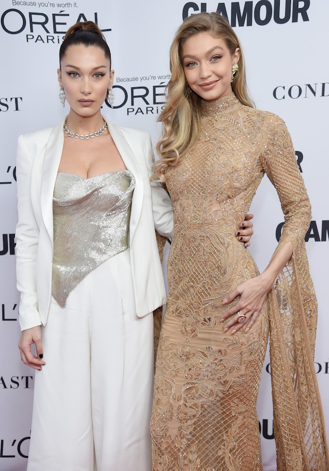 BROOKLYN, NY - NOVEMBER 13: Bella Hadid and Gigi Hadid attend Glamour's 2017 Women of The Year Awards at Kings Theatre on November 13, 2017 in Brooklyn, New York. (Photo by Jamie McCarthy/Getty Images for Glamour)