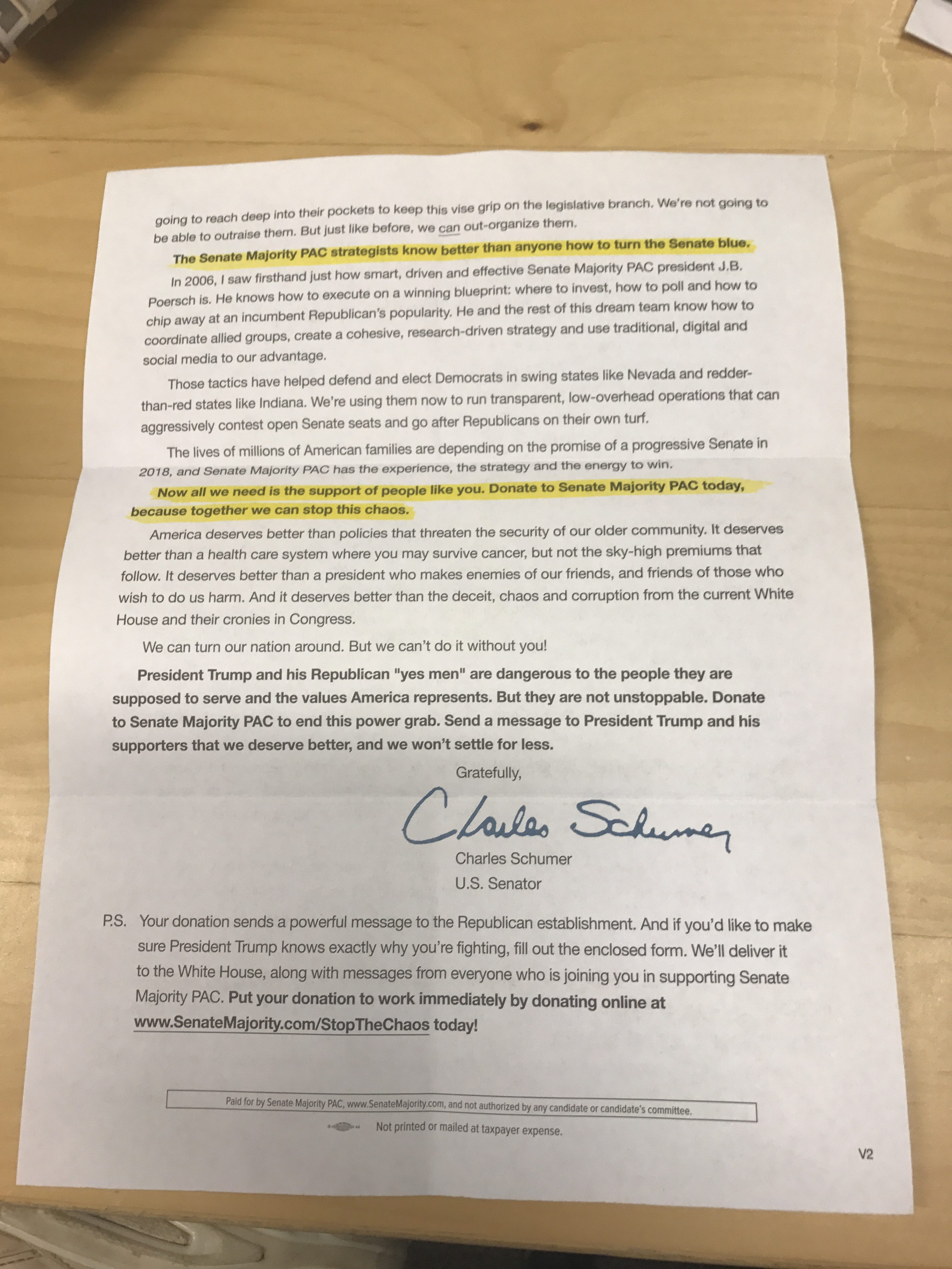 Senate Majority PAC fundraising letter (photo by Daily Caller)