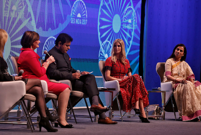 Ivanka Trump (2R) daughter of U.S. President Donald Trump, during the Global Entrepreneurship Summit (GES) in Hyderabad, India November 29, 2017. REUTERS/Cathal McNaughton