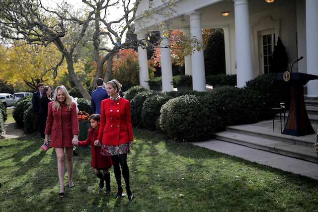 White House senior advisor Ivanka Trump accompanied by her daughter Arabella Kushner and sister Tiffany Trump (L) participate in the 70th National Thanksgiving turkey pardoning ceremony in the Rose Garden of the White House in Washington, U.S., November 21, 2017. REUTERS/Carlos Barria - RC19FEC1A7C0