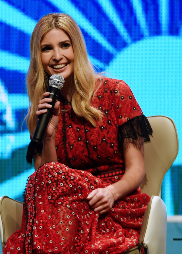 Ivanka Trump speaks during a panel discussion at the Global Entrepreneurship Summit at the Hyderabad convention centre (HICC) in Hyderabad on November 29, 2017. (Photo: MONEY SHARMA/AFP/Getty Images)