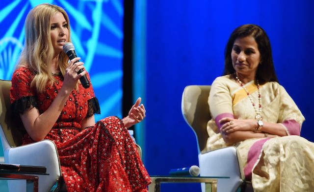 Ivanka Trump speaks next to Chanda Kochhar, Managing Director and CEO of ICICI bank limited during a panel discussion at the Global Entrepreneurship Summit at the Hyderabad convention centre (HICC) in Hyderabad on November 29, 2017. (Photo: MONEY SHARMA/AFP/Getty Images)