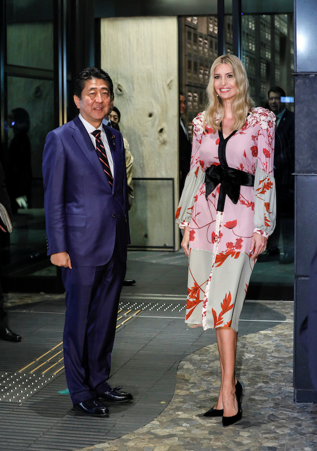 Ivanka Trump (R), Advisor to US President Donald Trump, is welcomed by Japanese Prime Minister Shinzo Abe for a dinner at a restaurant in Tokyo, Japan, 3 November 2017. REUTERS/Kimimasa Mayama/Pool -