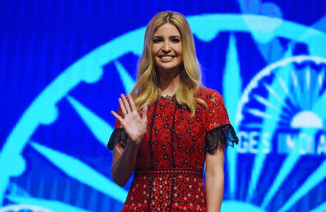 Ivanka Trump waves as she arrives for a panel discussion at the Global Entrepreneurship Summit at the Hyderabad convention centre (HICC) in Hyderabad on November 29, 2017. (Photo: MONEY SHARMA/AFP/Getty Images)