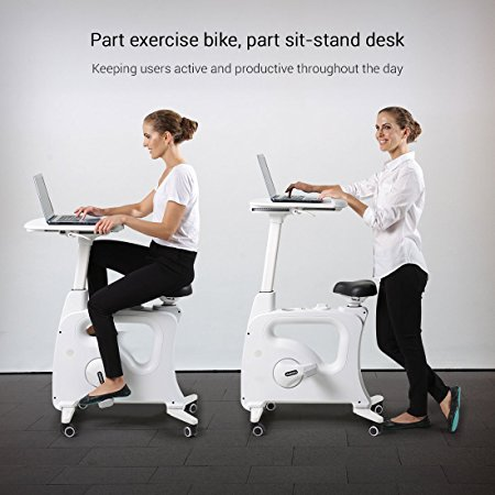 Normally $500, this exercise bike desk is $100 off with code Deskcise (Photo via Amazon)