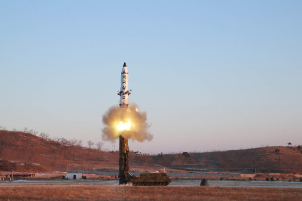 A view of the test-fire of Pukguksong-2 guided by North Korean leader Kim Jong Un on the spot, in this undated photo released by North Korea's Korean Central News Agency (KCNA) in Pyongyang February 13, 2017. KCNA/Handout via Reuters