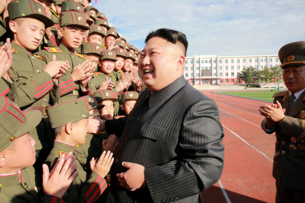 North Korea's leader Kim Jong Un visits the Mangyongdae Revolutionary Academy on its 70th anniversary, in this undated photo released by North Korea's Korean Central News Agency (KCNA) in Pyongyang October 13, 2017. KCNA/File Photo via REUTERS.