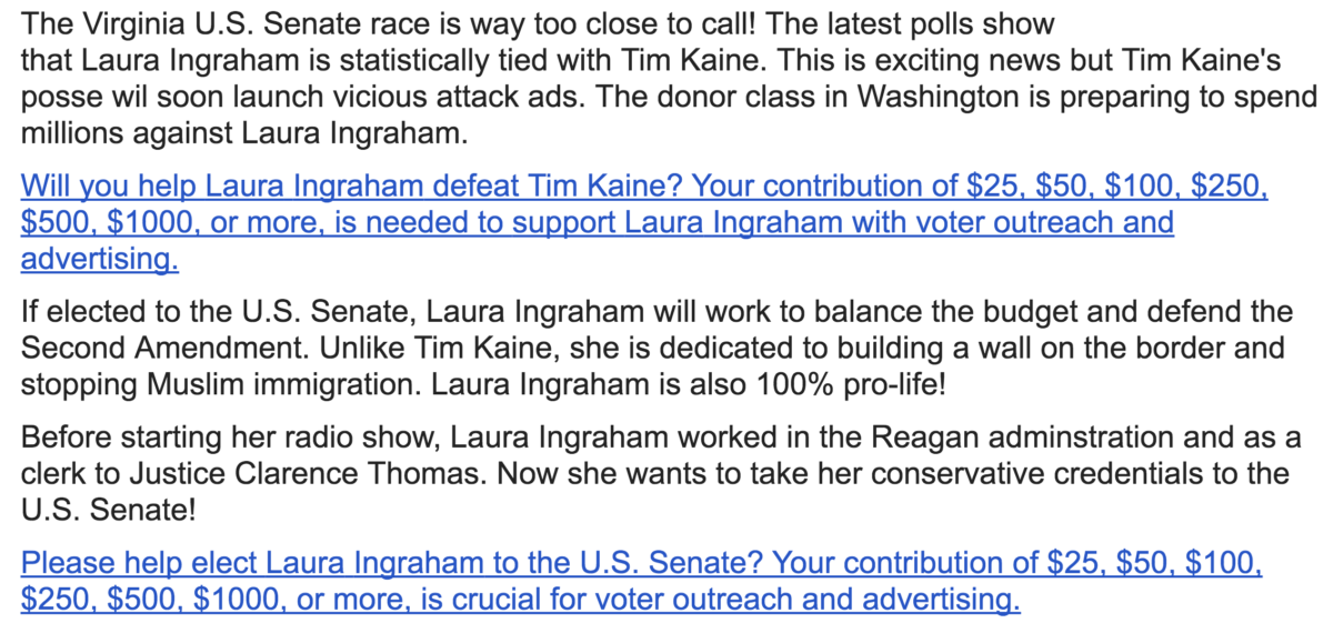"This super PAC claiming to fundraise for a Laura Ingraham Senate run is ""totally fraudulent,"" Ingraham told The Daily Caller."