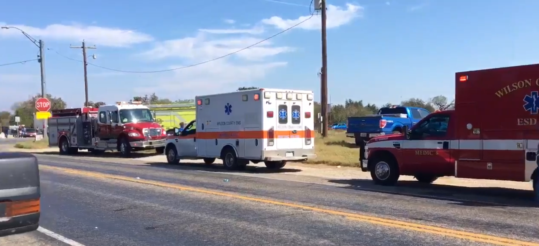 Gunman kills at least 27 at texas church the daily caller emergency vehicles lined up outside the first baptist church in sutherland springs tex malvernweather Image collections