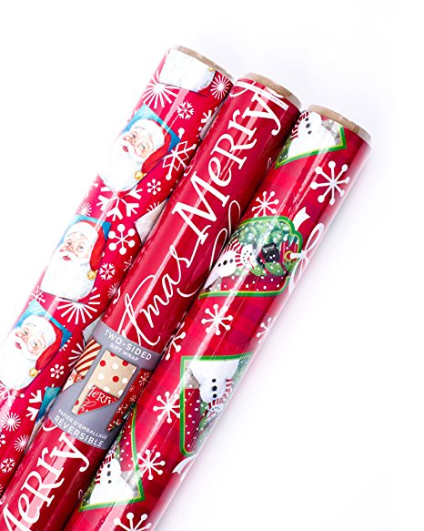 Normally $15, this 3-pack of wrapping paper is 30 percent off today (Photo via Amazon)