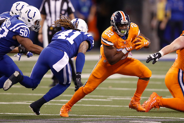 INDIANAPOLIS, IN - DECEMBER 14: C.J. Anderson #22 of the Denver Broncos runs with the ball against the Indianapolis Colts during the second half at Lucas Oil Stadium on December 14, 2017 in Indianapolis, Indiana. (Photo by Joe Robbins/Getty Images)