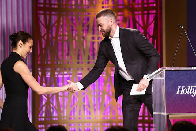 LOS ANGELES, CA - DECEMBER 06: Gal Gadot and Justin Timberlake onstage at The Hollywood Reporter's 2017 Women In Entertainment Breakfast at Milk Studios on December 6, 2017 in Los Angeles, California. (Photo by Rich Fury/Getty Images for THR) *** Local Caption *** Gal Gadot; Justin Timberlake