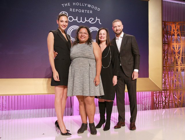 LOS ANGELES, CA - DECEMBER 06: (L-R) Gal Gadot, Carla Arellano, Laurie Zaks and Justin Timberlake pose onstage at The Hollywood Reporter's 2017 Women In Entertainment Breakfast at Milk Studios on December 6, 2017 in Los Angeles, California. (Photo by Rich Fury/Getty Images for THR) *** Local Caption *** Gal Gadot; Justin Timberlake; Laurie Zaks; Carla Arellano