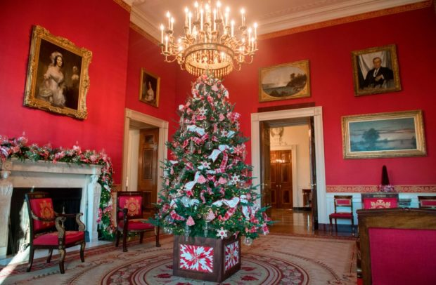 this is the historic white house red room - Obama Christmas Decorations