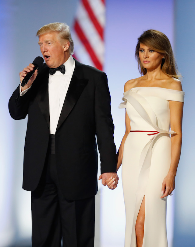 WASHINGTON, DC - JANUARY 20: President Donald Trump and first lady Melania Trump address the Freedom Inaugural Ball at the Washington Convention Center January 20, 2017 in Washington, D.C. President Trump was sworn today as the 45th U.S. President. (Photo by Aaron P. Bernstein/Getty Images)