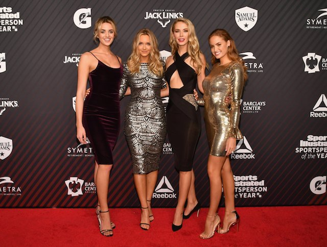 (L-R) Allie Ayers, Camille Kostek, Olvia Jordan and Haley Kalil attend SPORTS ILLUSTRATED 2017 Sportsperson of the Year Show on December 5, 2017 at Barclays Center in New York City. (Photo by Slaven Vlasic/Getty Images for Sports Illustrated)