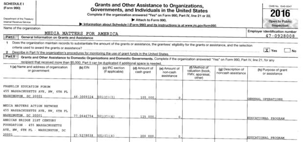 Media Matters 2016 IRS Form 990 (Robert Donachie/Screenshot)