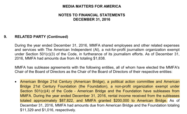 Media Matters for America's 2016 Financial Statements (Robert Donachie/Screenshot)
