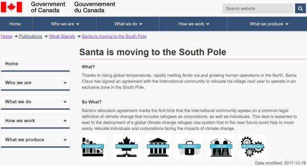 Santa moving south