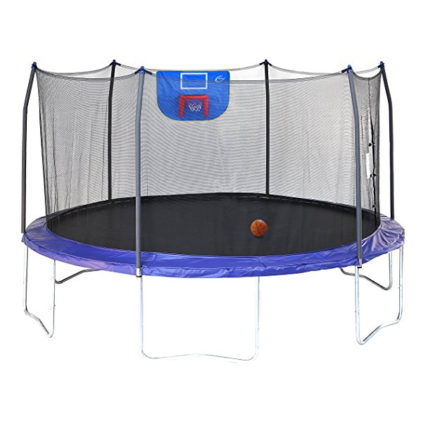 Normally $350, this trampoline with basketball hoop is 31 percent off today (Photo via Amazon)