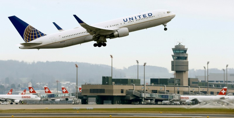 FILE PHOTO: A United Airlines Boeing 767-322(ER) aircraft takes off from Zurich Airport January 9, 2018. REUTERS/Arnd Wiegmann/File Photo