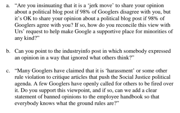 Offensive statements made by an unnamed Google employee.