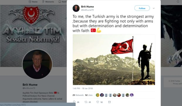 Tweet posted to Brit Hume's account by Turkish hackers. (Twitter/Hackers of BrithumeTR)