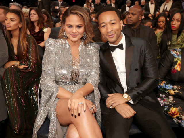 Model Chrissy Teigen (L) and recording artist John Legend attend the 60th Annual GRAMMY Awards at Madison Square Garden on January 28, 2018 in New York City. (Photo by Christopher Polk/Getty Images for NARAS)