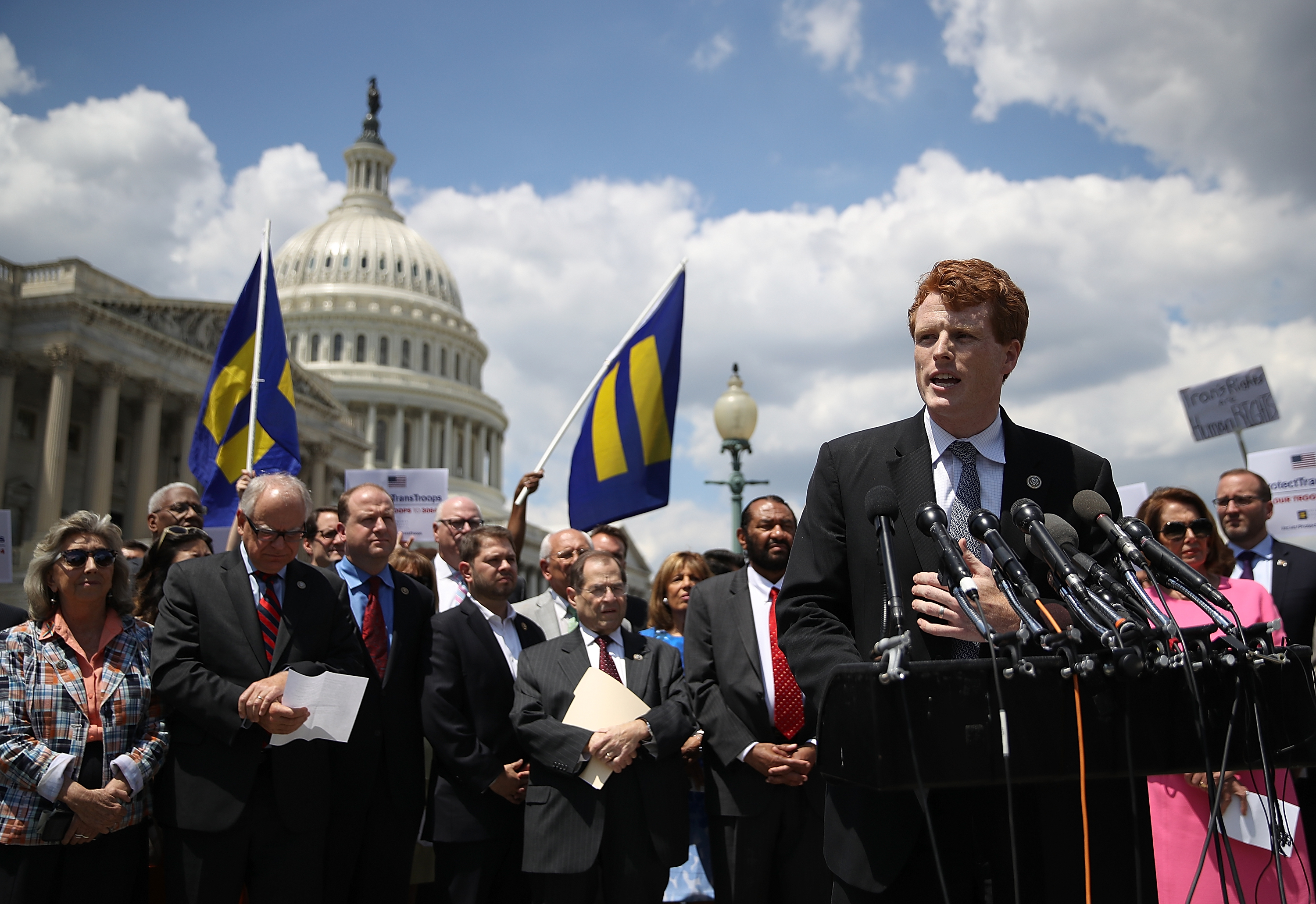 WASHINGTON, DC - JULY 26: U.S. Rep. Joe Kennedy (D-MA) speaks during a press conference condemning the new ban on transgendered servicemembers on July 26, 2017 in Washington, DC. U.S. Rep. Joe Kennedy held a news conference with members of the House leadership and the LGBT Equality Caucus to denounce the decision by U.S. President Donald Trump to ban transgendered servicemembers. (Photo by Justin Sullivan/Getty Images)