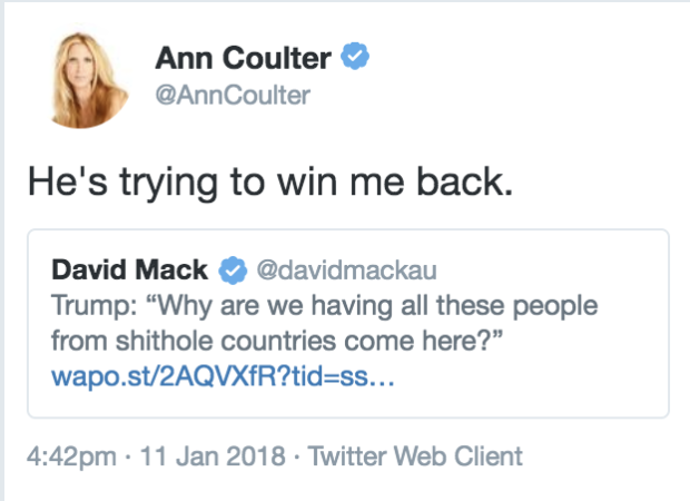 Trump's 'S***hole' Comment May Have Won Back Ann Coulter