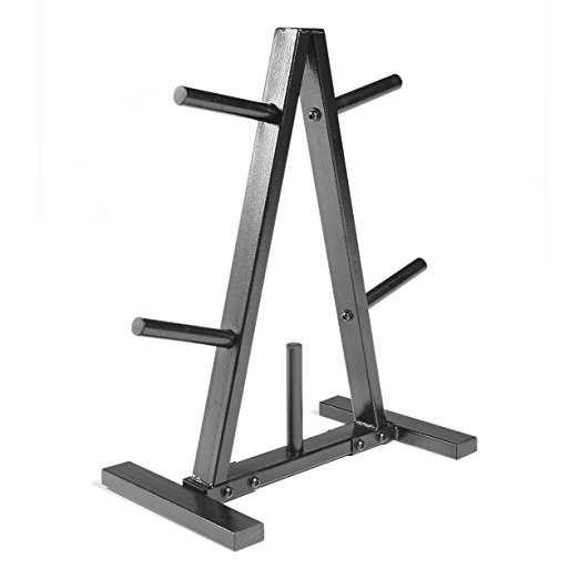 Normally $60, this barbell plate rack is 50 percent off today (Photo via Amazon)