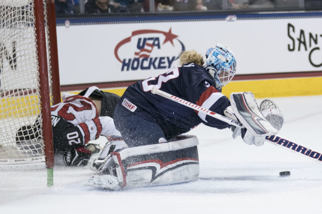 USA goalie Alex Rigsby makes a save against Canada forward Sarah Nurse during the first period at SAP Center, December 15, 2017. Photo: Kyle Terada-USA TODAY Sports